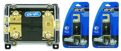 Anl Fuse Holder 0 2 4 Awg In 1 Hole & 2 4 Awg Out 2 Hole + 2 Anl100 Amp Fuses
