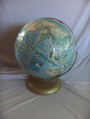"Vintage Rand McNally 12"" World Portrait Globe & Metal Stand Ocean Depths USSR"
