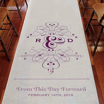 Fanciful Monogram Personalized Wedding Ceremony Aisle Runner Q26918