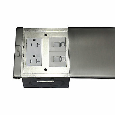 Ultra-thin Flat Push Floor Box 20A TWR Receptacle Low Voltage RJ45 Port Outlet