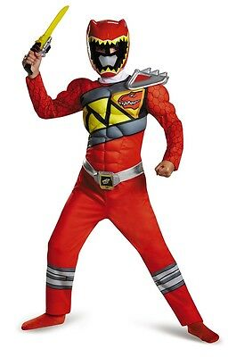 Power Rangers Dino Charge Red Ranger Muscle Child Costume HALLOWEEN Boys