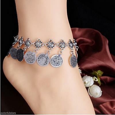 Gorgeous Antique Silver Metal Coins Design Tassel Chain Anklet Novelty Accessory