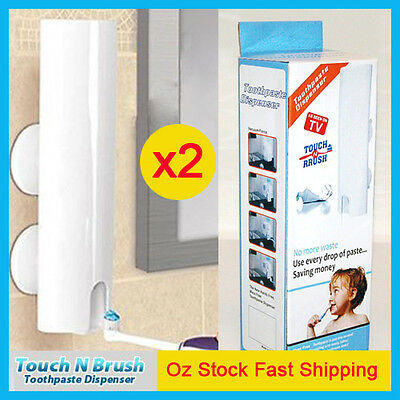 2X Wall Mount Handfree Automatic Toothpaste Dispenser Touch N Brush Holder