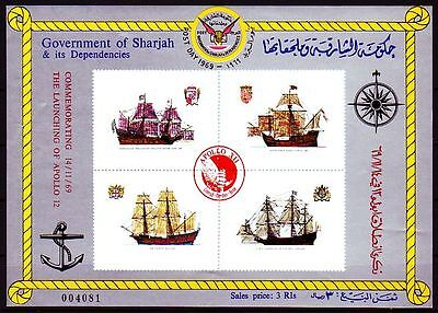 Sharjah 1972 ** Bl.145 Schiffe Boats Apollo Space Weltraum