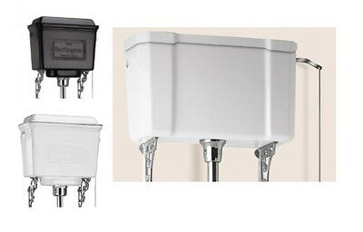 Burlington High Level Cistern, White Ceramic, White, Black or Polished Aluminium