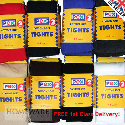 Pex School Tights 2 Pairs Girls Childrens Ladies Cotton Rich Sizes 2Y 13Y Uk New