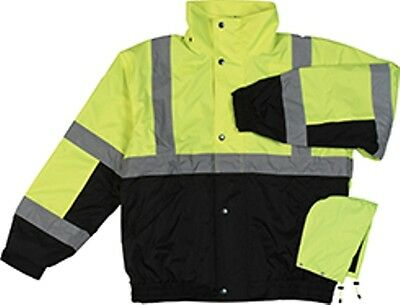 Class 2 ANSI Rated Winter Bomber Jacket Hi VIZ Yellow W106 By ERB New for 2015!