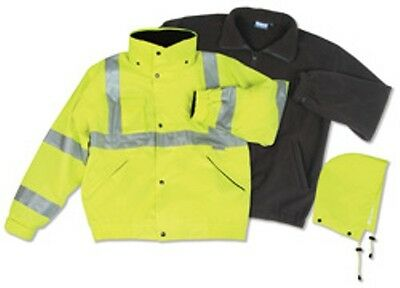 ERB Class 3 ANSI Rated Winter Bomber Jacket Hi VIZ Yellow 3-1 W372 New for 2015