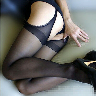 Ladies Sexy Bract Core Silk Tights Open Crotch sheer Pantyhose Stockings A21.5