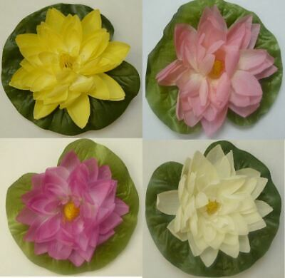 Pond Plant Floating Lily Artificial Plastic Decorative 13.7cm Pink White Yellow
