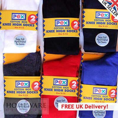 Girls Knee High School Socks 2 Pairs Pex Kids Countless Wear Wash 6 Child 7 Lrge