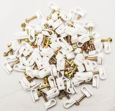 2500 SINGLE WHITE Mounting Flex Clips W/ Strain Relief Screw RG6 RG59 Coax Cable
