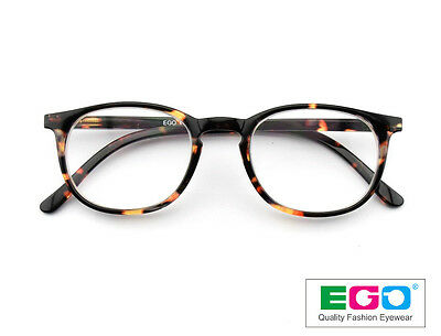 9136200557e EGO Round Oval Designer Tortoise Reading Glasses Retro Nerd Hipster +3.00