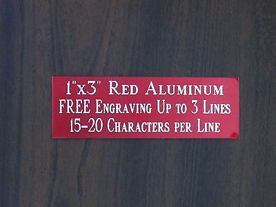"FREE CUSTOM ENGRAVED 1""x3"" RED NAME PLATE ART-TROPHIES-GIFT-TAXIDERMY-FLAG CASE"