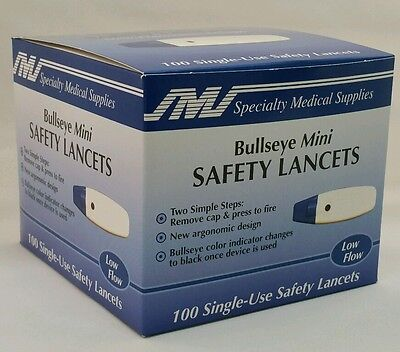 100 Bullseye Mini Safety Lancets Exp 11/2017