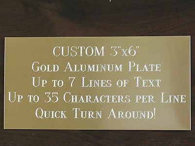 "Custom Engraved Plate ALUMINUM 3""x6"" Custom Name Plate Plaque Art Label Tag Gift"