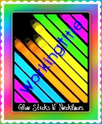 """25 6 """" Glow Sticks W Party Necklaces Light Bright 8 Neon Rave Colors New"""