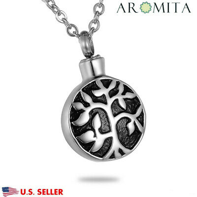 Tree of Life Cremation Jewelry Keepsake Pendant Memorial Urn Necklace Ash Holder