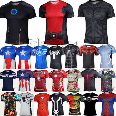 Mens Compression T-shirt Cosplay Costume Casual Sports Base Layer Blouse & Tops
