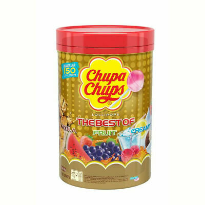 100 Best of CHUPA CHUPS Lollipops Assorted Flavour Lollies Jar 1.2kg Bulk Pack