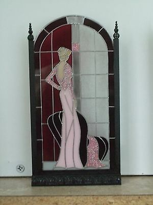 DOLLHOUSE MINIATURE Art Deco Lady 'Stained Glass' Screen by Barbara Sabia - Pink