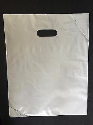"100 12""x15"" GREY Glossy Low-Density Plastic Merchandise Bags Wholesale lot Bags"