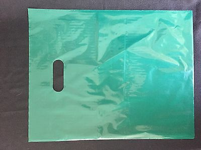 50 12x15 Glossy GREEN Low-Density Plastic Retail Merchandise Bags WHandles