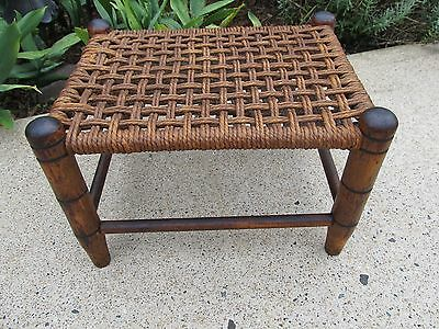 Vintage Woven Rush Wooden Footstool 12 7/8 X 9 1/2 X 8 1/2 Tall Birch Ottoman