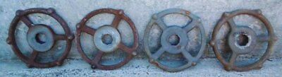 Lot Of (4) Industrial Machine Age Cast Iron Water Valve Handles Steampunk Lot #1