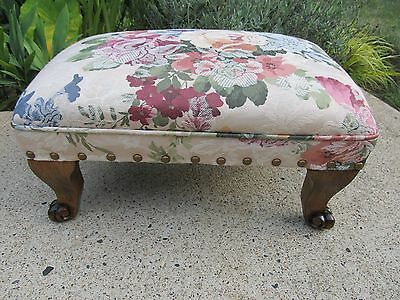 Antique Hardrock Maple Carved Footstool
