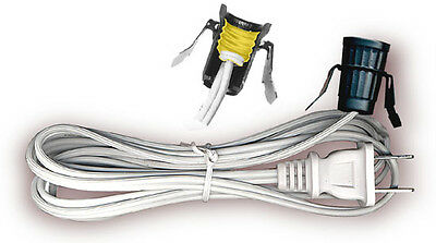 6' WHITE CORD w/ Snap In Candelabra Socket & Switch { Lot of 10 } ~ UL LISTED