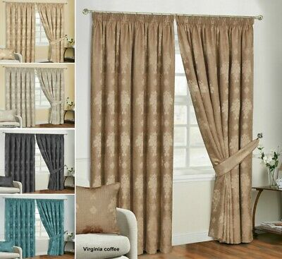 Modern Curtain Pairs Fully Lined Ready Made Pencil Pleat with Tie Backs Jacquard