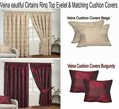 Luxury Pair Curtain Heavy Jacquard Ready Made Fully Lined Ring Top with Tie Back