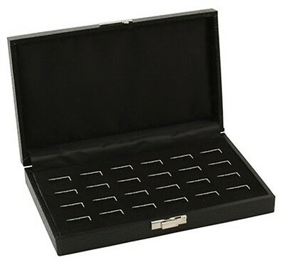1 New Black Wide Slot 24 Ring Display Portable Sales Storage Boxes Cases