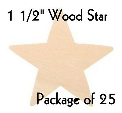 """STAR ~ 1 1/2"""" ~ Wood Cutout Craft Shape ~ Unfinished { Lot of 25 } ~ by PLD"""