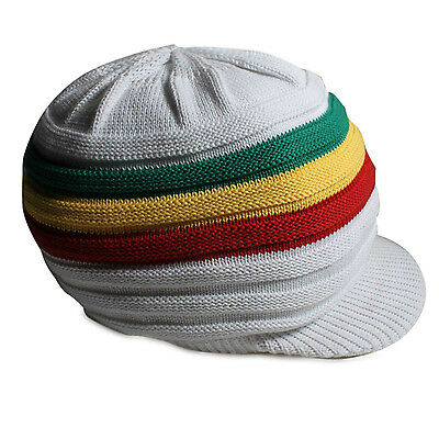 Reggae Rasta Roots Africa Rastafari Jamaica Marley White Hat Hippie Crown S/M
