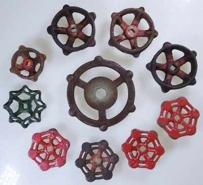 Lot Of 10 Industrial Machine Age Cast Iron Water Valve Handles Steampunk