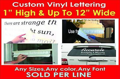 "1"" High Custom Vinyl Lettering Personalized Text Wall Window Car Sticker Decal"