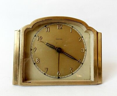 Vintage German 1930s MAUTHE Art Deco Brass Alarm clock Desk Table Decor Watch