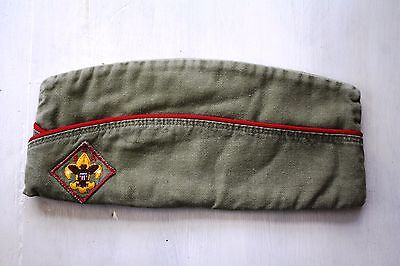 Vintage BSA cap hat Olive color with red trip 1960's 10.5 inches long