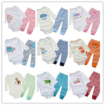 2Pcs Infant Toddler Baby Boy's Girl's Animal Romper+Pants Outfits Sets 6-24 M
