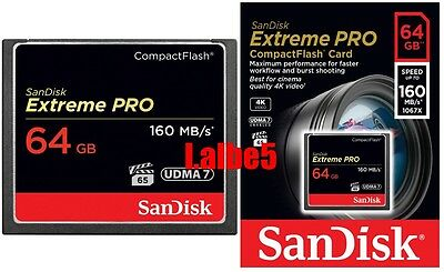 Sandisk Extreme Pro 64GB 64G 160mb/s Compact Flash Card CF card Full HD video