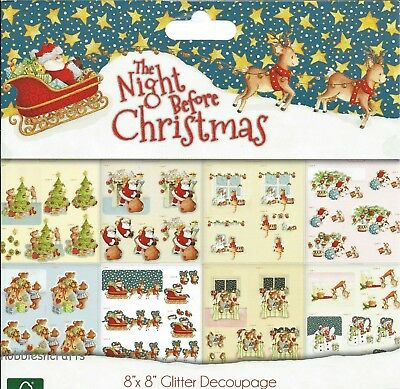 Trimcraft  8 X 8 Decoupage Sample Pack The Night Before Christmas - 8 Sheets