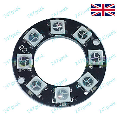 WS2812B 5050 NeoPixel Ring 8 Way Serial RGB LED Type4 Integrated Controllers UK
