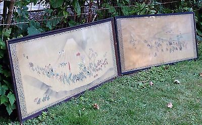 """RARE 19th Century ANTIQUE JAPANESE """"PROCESSION OF INSECTS"""" SILK SCROLL PAINTINGS"""