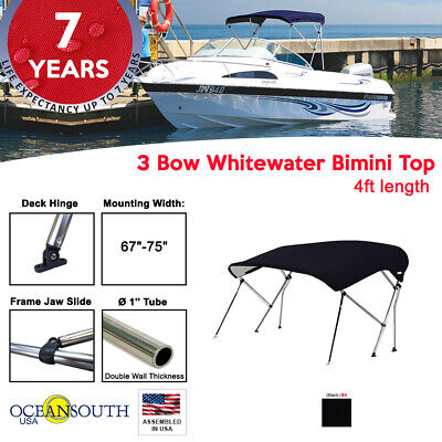 "BIMINI TOP 3 Bow Boat Cover Black 67""-75"" With Rear Poles & Integrated Cover51""L"