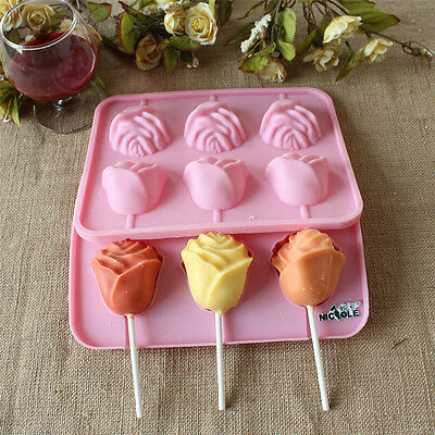 Rose Flower Chocolate Mold Lollipop Sticks Silicone Molds DIY Candy Baking Cake