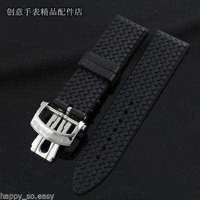 23mm balck rubber diver Watch Strap silicone band for Chopard 168997-3001