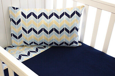 YOU & BOO 3 Piece Cot Sheet Set - Navy Chevron (100% Cotton)
