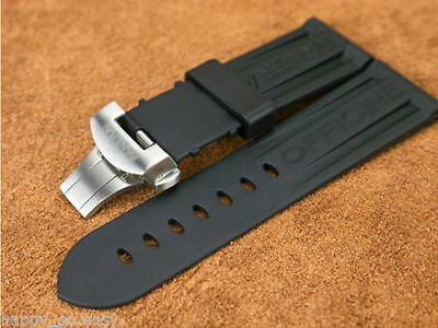 22mm 24mm black rubber river watch Strap band butterfly buckle for PANERAI